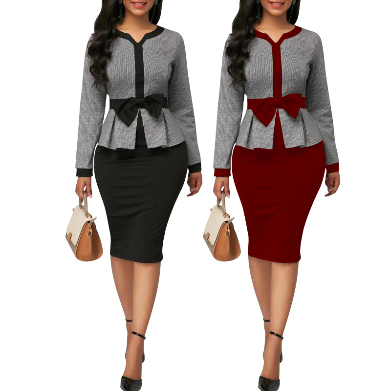 African Clothes Two Pieces Set Women Office Lady  Printed Coat&Short Sleeve Pencil Bodycon Dress Suit Plus