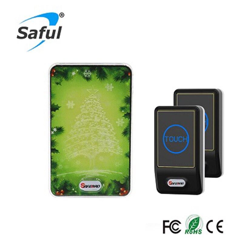 Saful Wireless DoorBell Waterproof 150M Long Range LED Light 28 Tune 2 Outdoor Transmitter +2 Indoor Wireless Doorbell Receiver