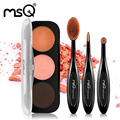 MSQ New Arrival 3 Colors Glitter Eyeshadow Palette Natural Cosmetics Makeup Shining Eye Shadow With Oval Brush