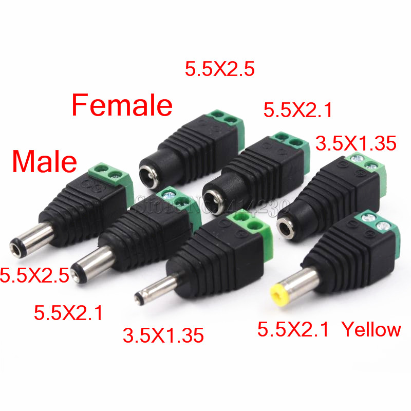 Male Female DC Power Plug <font><b>Connector</b></font> 2.1mm <font><b>x</b></font> <font><b>5.5mm</b></font> <font><b>2.5mm</b></font> <font><b>x</b></font> <font><b>5.5mm</b></font> 1.35mm <font><b>x</b></font> 3.5mm Needn't Welding DC Plug Adapter 12V 24V For CCTV image