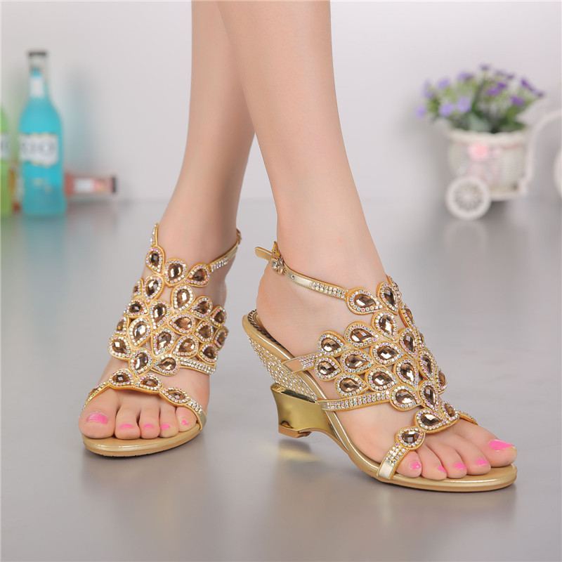 Summer Diamond Leather Peep Toe Wedge Sandals Ladies High Heeled Elegant Luxury Shoes Uk High Quality Big Size