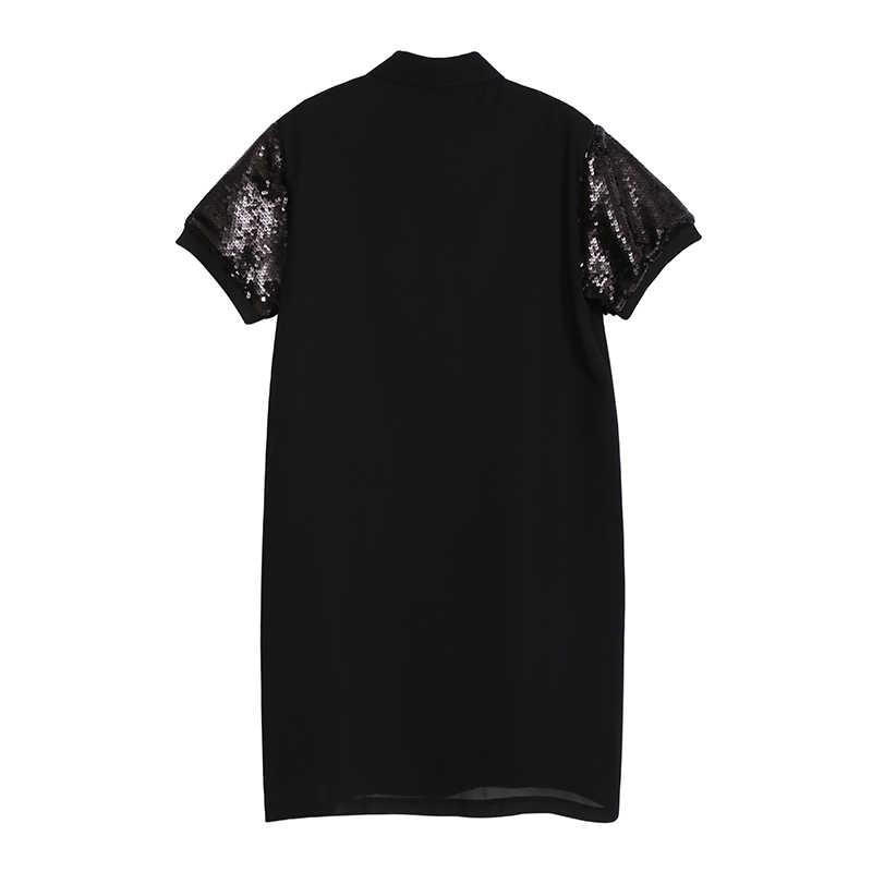 Женское шифоновое платье-рубашка, повседневное платье средней длины с короткими рукавами, блестками и нашивками с рисованными персонажами, модель 4882 в европейском стиле, 2019