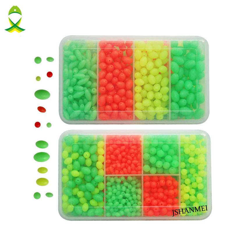 JSM 1000pcs Plastic Glow Fishing Beads Round Oval Luminous Sea Fishing Floating Fishing lure Set with fishing tackel Box artkal beads 28 color with pegboards accessories box set perler mini beads plastic eva educational toys for children ca28