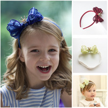 Toddlers Hair Bows Headbands Girls Lace chiffon Headwear with Crown Fashion Bands Kids Pink Bowknot bands Accessories D63