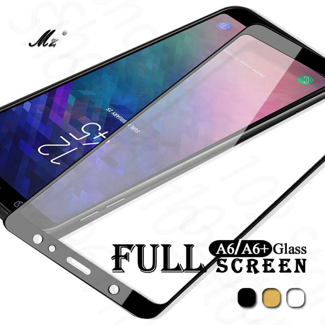 official photos 8715e 829c9 US $1.21 20% OFF|Tempered Glass For Samsung A6 2018 A600 Full Cover Screen  Protector For Samsung Galaxy A6 Plus 2018 A6+ A605F A6Plus 2018 film-in ...