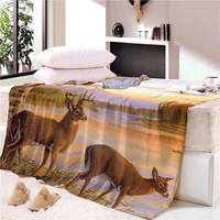 Modern Fashionable Deep Coffee Color Deer Printing Pattern Lace French Leather Blanket Four Seasons Available Sofa Bed