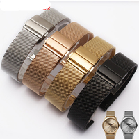 2017 NEW Style 18mm 20mm Men Lady Silver Black Gold Rose Gold Mesh Milanese Loop Steel