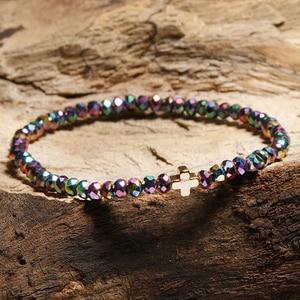 Image 4 - New Arrival Crystal Bracelet Women Girl Cute Small Cross Charm Ladies Braclet Yoga Prayer Jewelry Strand Braslet Moda Mujer Gift