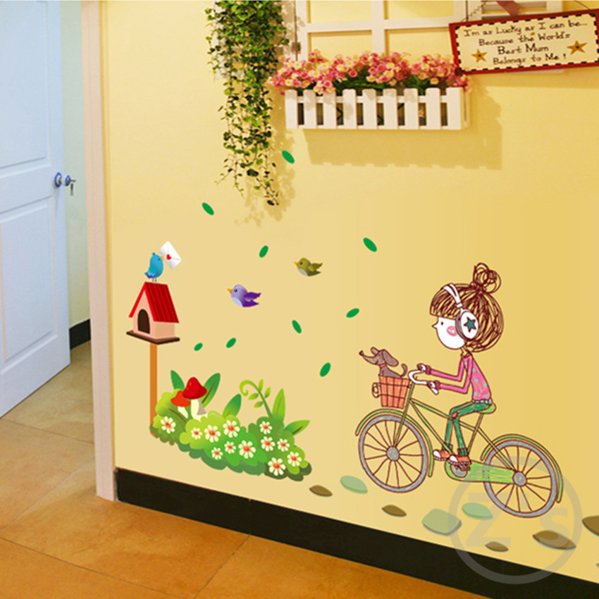 Zs Sticker Girl by Bicycle Wall Stickers for Kids Rooms Daycare Wall ...