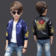 цены 2020 autumn children's clothes boys jackets flower long sleeve PU leather boy jackets for boys big kids outerwears coats 4-12Y