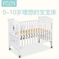 Babyruler От 0 до 10 лет Детские кроватки твердой древесины Европейский игра кровать зеленой краской многофункциональный детская кровать белый к