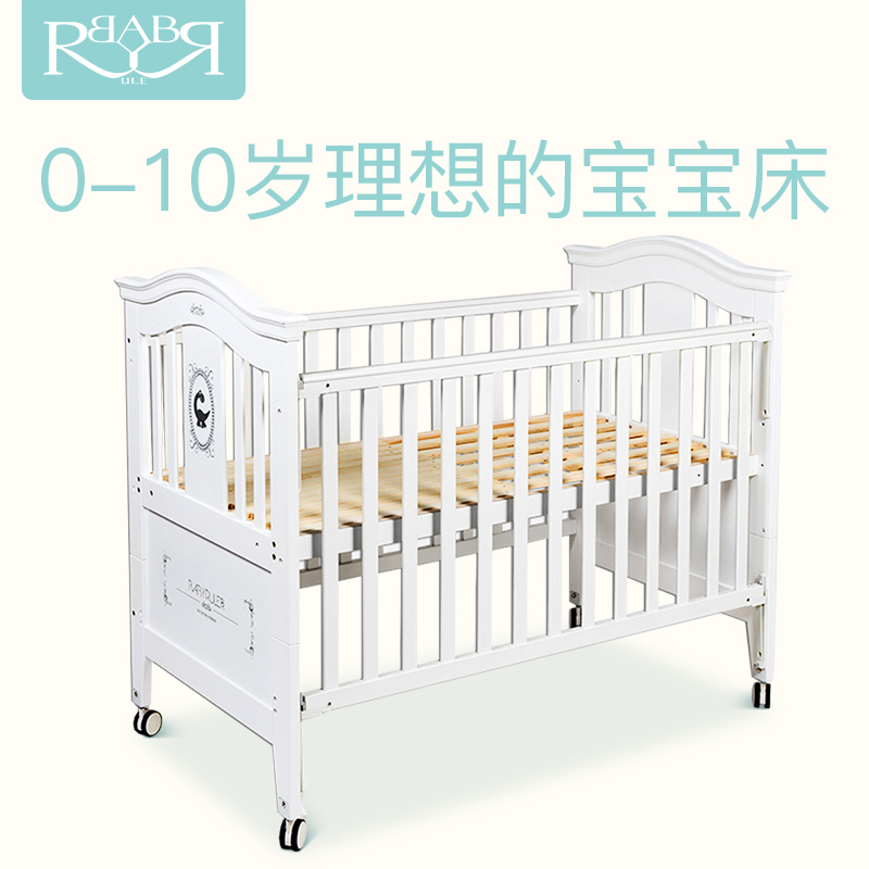 Babyruler 0-10 Year Old Cribs Solid Wood European Game Bed Green Paint Multi-function Baby Bed White Crib Bed