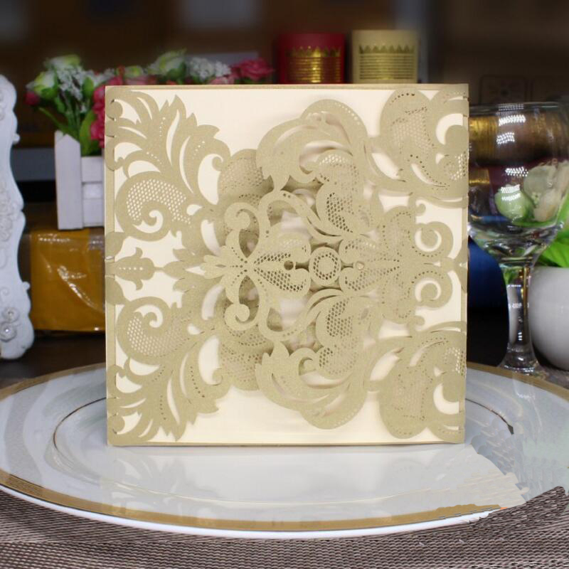 30pcs/pack Square Champagne Hollow Flower Invitation Card with Blank Inner Sheet Engagement Married Birthday Party Invitation global elementary coursebook with eworkbook pack