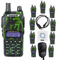 NKTECH USB Cable & Speaker Mic + 10 Pack BAOFENG UV-82 Dual Band VHF UHF 136-174/400-520MHz  Two Way Radio Walkie Talkie Green