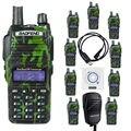 Nktech USB e microfone 10 pacote BAOFENG UV-82 Dual Band VHF UHF 136 - 174/400 - 520 MHz rádio em dois sentidos Walkie Talkie verde