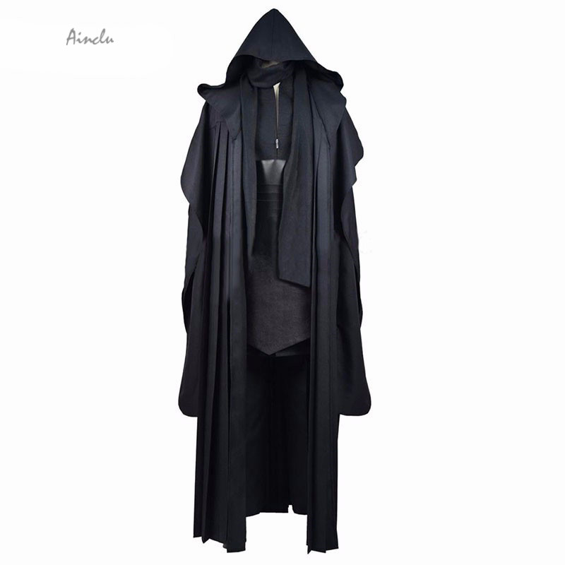 Ainclu FreeShipping New Black Uniform Cloth Tie PU Star Wars Adult Cosplay Costume Unisex Anime Clothing For Halloween Christmas