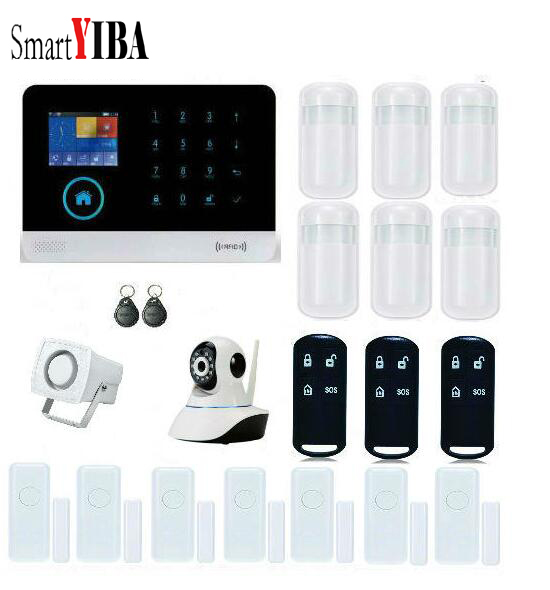 SmartYIBA offre spéciale système d'alarme 433 MHz IOS + Android APP contrôlé capteur de porte caméra IP sans fil pour système d'alarme de sécurité à domicile