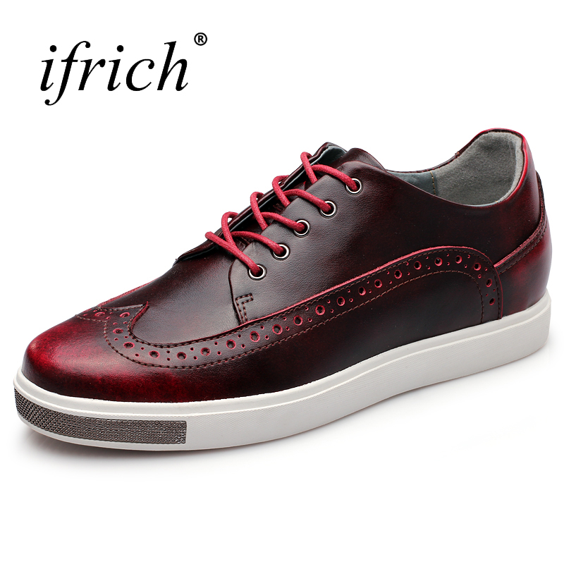 Ifrich New Arrival Mens Shoes Genuine Cow Leather Brogue Shoes Male Lace Up Low Top Wine Blue Sneakers for Men zdrd new fashion genuine leather men business casual shoes british low top lace up suede leather mens shoes brown red men shoes