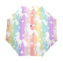 horse rainbow Umbrella Custom Foldable Rain Wind Resistant Windproof Floding Travel
