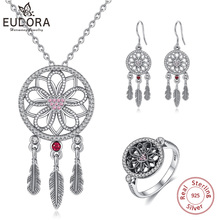 EUDORA 925 Sterling Silver Dream Catcher Jewelry Sets Datura Flowers Necklace/Ring/Earring For Wedding Anniversary Romantic Gift