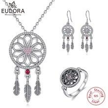 EUDORA ensemble de bijoux en argent Sterling 925 attrape rêves, collier/anneau/boucle doreille, fleurs, pour un cadeau romantique danniversaire de mariage
