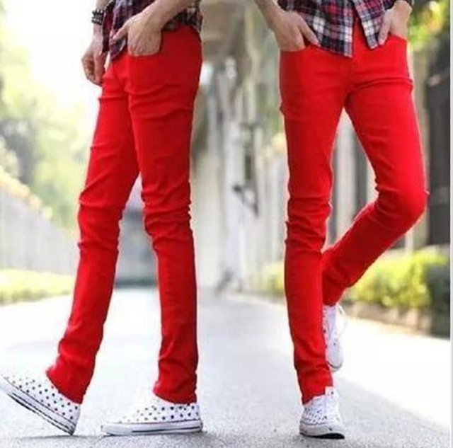 HOT 2020 Fashion Summer Solid Cotton Jeans Men Red Teenagers Pantalon Homme Skinny Male Leisure Boy Sweatpants Hombre Free Ship