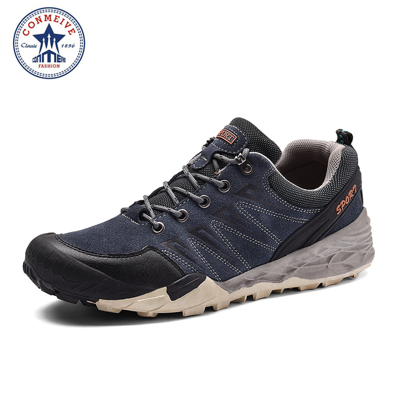 Sale Brand Hiking Shoes Men Winter Outdoor Boots Warm Trekking Genuine Leather Climbing Mens Sneakers Rubber Sport Hunting famous brand men s winter outdoor hiking trekking boots shoes for men warm leather climbing mountain hunting boots man quality