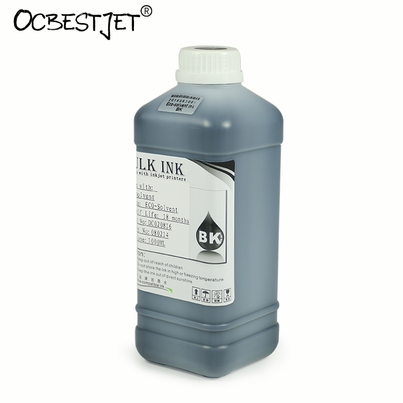 1000ML/Bottle Eco-Solvent Ink For Epson DX4 DX5 DX6 DX7 Printhead Eco Solvent Ink (9 Colors Are Available) free shipping 6 colors eco solvent ink for epson stylus photo t50 printer ink