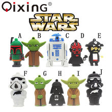 QIXING hot sale cartoon flash memory card with usb 4 GB 8 GB 16 GB 32 GB Star Wars Robot all styles USB 2.0 Pen drive pendriver(China)