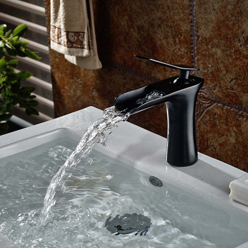 ФОТО Modern Oil Rubbed Bronze Waterfall Bathroom Basin Faucet Solid Brass Mixer Tap