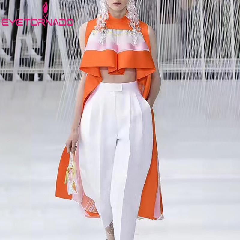 Women Striped Print Sleeveless Blouse 2019 Summer Sexy Asymmetrical Crop Top Short Streetwear Party Club Shirt