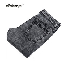 Free shipping 2015 Autumn Fashion Classic Jeans Casual Men ripped jeans Famous Straight Korean Slim Brand Pants Plus 28-36 Size