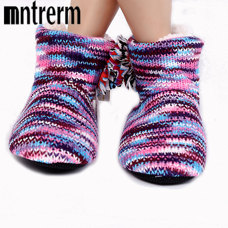 Mntrerm New Warm Soft Sole Woman Indoor Floor Slippers For Women Shoes Crochet Flowers Home Slippers Shoes chinelo Winter Gift