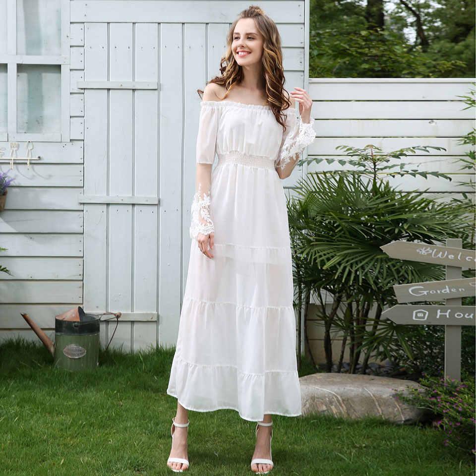 הי גרנד אלגנטית הלבן ארוכות שמלות 2018 חדש קיץ חוף ארוך אבוקה שרוול תחרת מעשה טלאים עבור כלה שושבין נשים WQL5599
