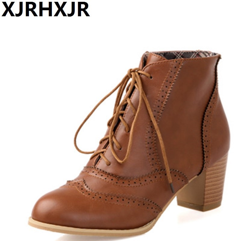 2017 Autumn Winter Ankle Boots New Shoes Woman Fashion Lace Up Thick Heel Martin Boots Female Casual Short Boots Size 34-43 short boots woman the fall of 2017 a new restoring ancient ways british wind thick boots bottom students with martin boots