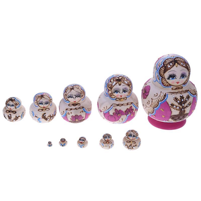 10pcs/set Kids Girls Matryoshka Dolls Favorite Basswood Tree Pattern Matryoshka Doll Handmade Russian Nesting Meaningful Gift