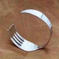 New Fashion Silver Knife Fork Bracelets Bangles For Women Men Jewelry Stainless Steel Friendship Arm Cuff