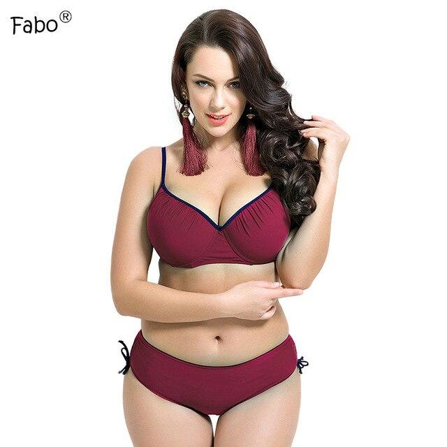 098a774a5c133 Fabo Bikini Cup Push Up Solid Swimsuit Large Size Swimwear Women Plus Size  Monokini Bathing Suit Bikinis Women 2017 Swim Wear