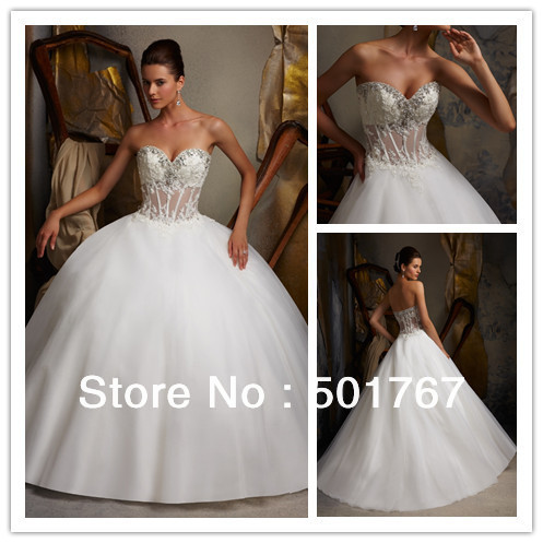 High Quality Ball Gown Satin See through Wedding Dress Long Corset ...