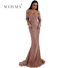 47b42939be Voobuyla 2019 Sexy BRA Long Sleeve Off Shoulder Sequin Backless Dresses  Women Sheath Maxi Party Elegant