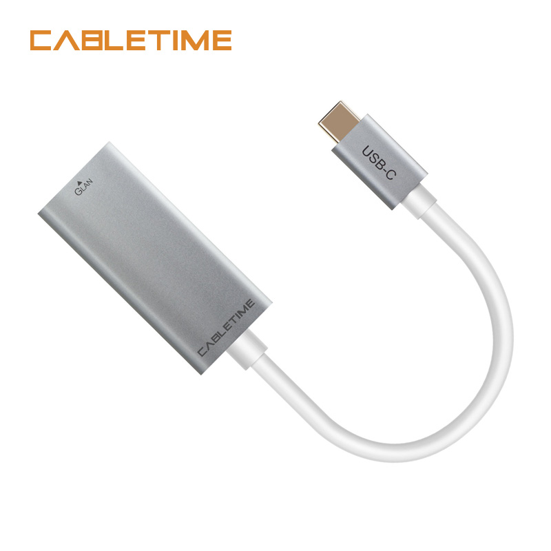 Cabletime USB Type C Ethernet Adapter Network Card USB C 3.1 to Ethernet RJ45 Lan Type c Hun for MacBook Windows 7/8/10 N133