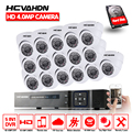 HCVAHDN 4MP 16channel Security Camera System HDMI 1080P 5MP 4MP AHD DVR NVR Phone View Dome CCTV Security Camera System 4TB HDD
