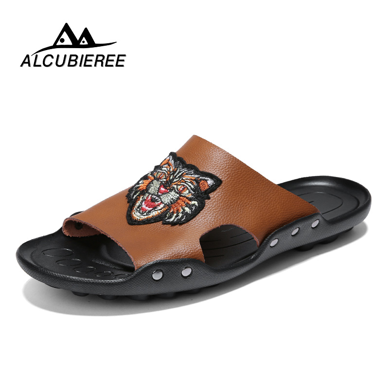 ALCUBIEREE Pu Leather Men Shoes Slippers Outdoor Flat Flip Flops Men Brand Slippers Men Beach Shoes Designer Sandals Summer