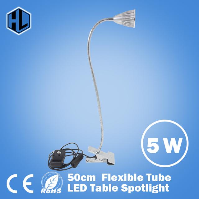 Nova Flexível 5 W LED de iluminação de leitura desk lâmpadas 50 cm estilo Tubo de Alta Potência quente/frio Branco de mesa Dispositivo Elétrico da lâmpada Da Varanda