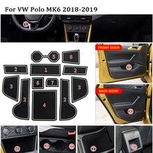 1 Набор для 2011- VW Polo 6R GTI Volkswagen Polo Plus аксессуары резиновый автомобильный Противоскользящий коврик для межкомнатной двери/коврик для чашки