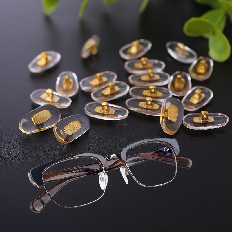Hot New 10 Pairs Lot Golden PVC Glasses Anti Slip Aluminum Conductor Silver  Nose Pads for Men Women