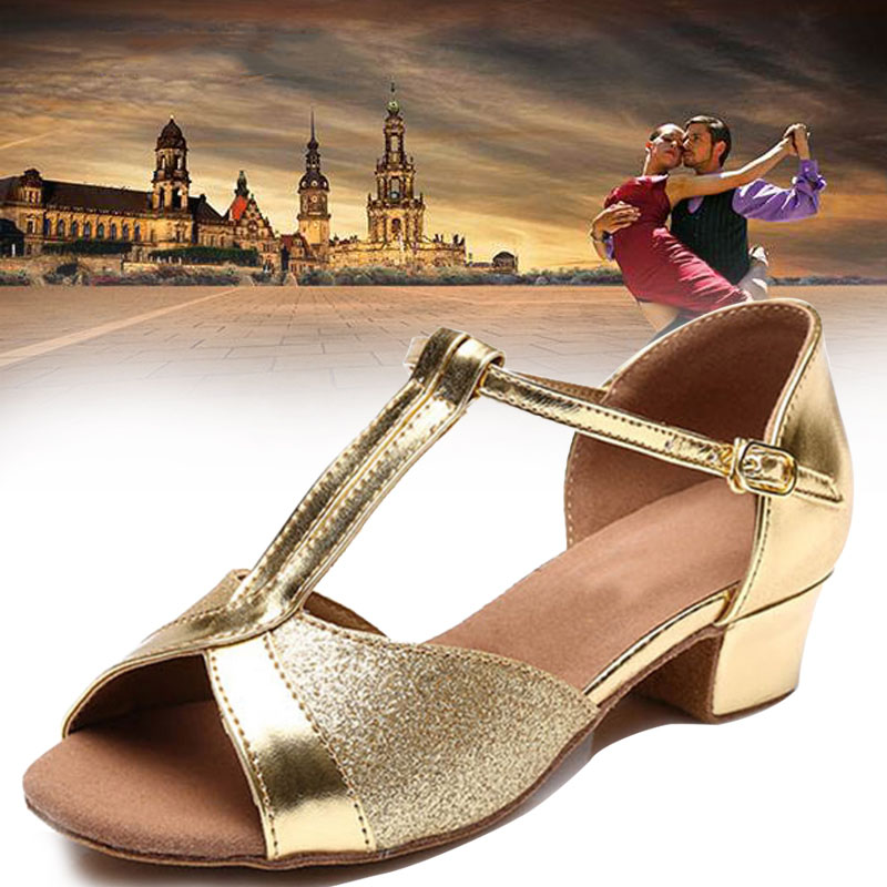 Gold Silver Dance Shoes Tango Latin Dance Shoes For Kids Girls Children Women Ladies Low Heel