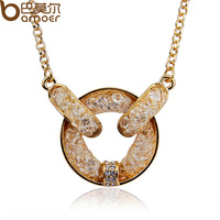 Drop Shipping Chain Champagne Necklace For Women Wedding18k Rose Gold Plated Zircon Crystal High Quality Bamoer