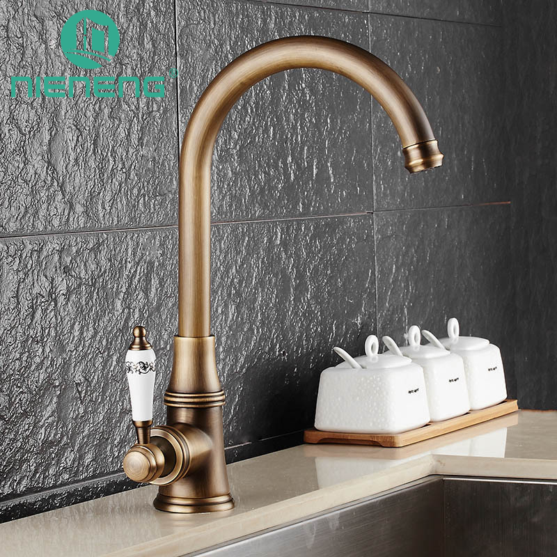 Nieneng 360 Degree Swivel Solid Brass Kitchen Sink Faucets Cold and Hot Single Hole Bathroom Basin Faucet Mixer Tap ICD60383 new arrival tall bathroom sink faucet mixer cold and hot kitchen tap single hole water tap kitchen faucet torneira cozinha