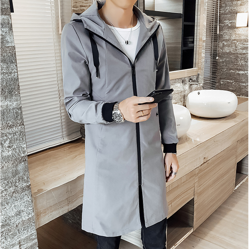2019 Spring Mud Coat Males Vogue Pattern Concern Slim Match Hooded Lengthy Jacket Youth Overcoat